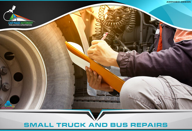 Car Magic Autobody Panelbeaters & Spraypainters Kimberley - Services: Smaller repairs to trucks & busses, i.e. panel replacements and physical body repairs but not chassis repairs and cab or trailer replacements.