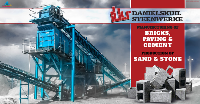 AFFILIATE COMPANIES: Daniëlskuil Brickworks (Daniëlskuil Stene) DK Bricks in the Northern Cape specialize in the manufacturing of cement building bricks, paving bricks and the production of cement, sand & stone.