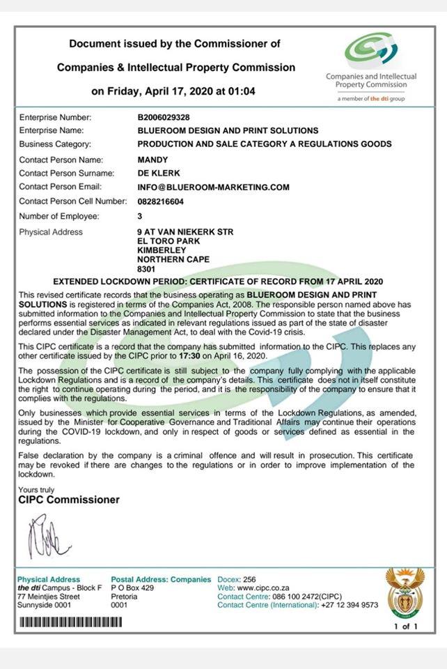Blueroom Designs COVID-19 Essential Service Provider Trading Certificate